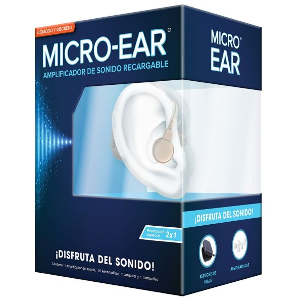 2x1 microear amplificador de sonido sordera leve o moderada